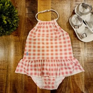 Ralph Lauren Ruffled Pink Plaid Swimsuit